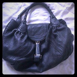 Fendi leather shoulder purse tote